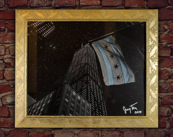 Chicago Art Print Framed Chicago Night Sky Fine Art Poster