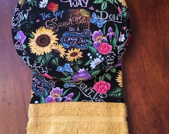 PotHolder Set (Two potholders and one towel) - FLOWERS