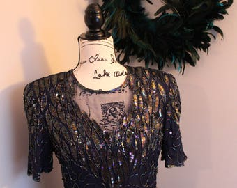 Women's Petite Vintage Sequin Dress by Allyson Whitmore