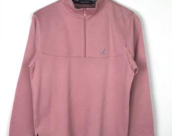 Rare!!! Kangol Sport Sweatshirt Pullover Small Logo Embroidered Half Zipper