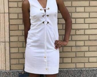 Vintage 80'sv White Dress Lace Up Front