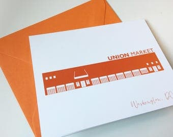 Washington DC Greeting Card Union Market A2 Orange