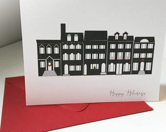Washington DC Holiday Row Home Card A2