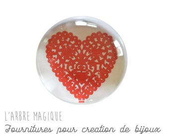 2 cabochons craft love heart message glass 14 mm - N335