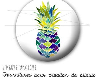 2 cabochons glue pineapple fruit exotic ref 1740 - 16 mm.