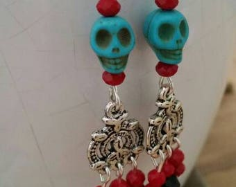 Skull chandelier earrings for Day of the Dead/Dia de los Muertos