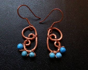 wings of butterfly and turquoise earrings