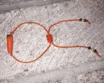 Handmade carrot beaded bracelet