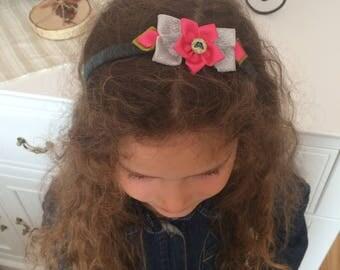 Pink/Silver Butterfly Headband