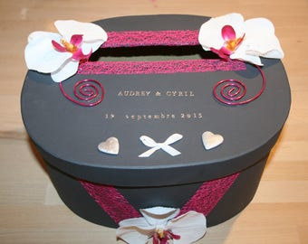 urn wedding or anniversary oval grey and Fuchsia Orchid