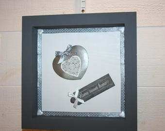 """Gray and white heart frame """"home sweet home"""""""