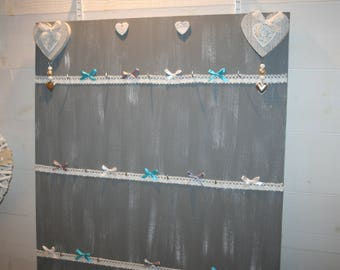hanging Panel white grey heart necklaces and lace