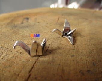 Set of 2 small silver origami bird