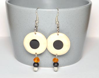 Two-tone and amber wood earrings