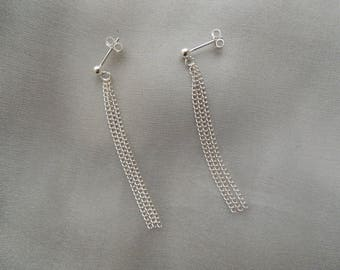 Silver earrings for three chains