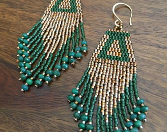 Gold and emerald earrings, gold beaded earrings, gemstone earrings, beaded fringe earrings