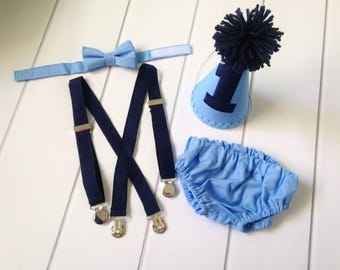 Blue Cake Smash Outfit Boy - First Birthday Outfit Boy - Diaper Cover Set - Light Blue and Navy - Diaper Cover, Suspenders, Bow Tie, Hat