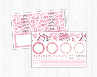 Monthly notes page Stickers [2E]/planner stickers / ECLP/EC vertical monthly kit/erin condren life planner/february pink girl valentines