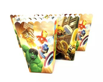 6x Lego Avengers Superhero Lolly Loot Party Popcorn Box Bag. Party Supplies Banner Bunting Flag Deco Favour
