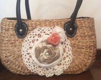 Upcycled wicker handbag