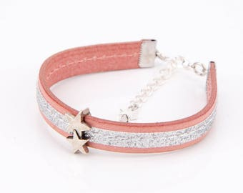 Bracelet leather and silver stars #1301
