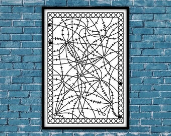 "printable black and white abstract poster, Art and Collectibles, Printable Mazes, Printable Poster Home and Office Decor, ""Barbed Wire 1"""