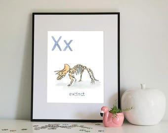 X is for eXtinct, alphabet series - Print of Original Watercolour