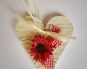 Picnic mood. Wooden heart. Creamy white heart. Cottage chic heart. Shabby chic heart. Red faux flower. Bicolor ribbon. Creamy lace.