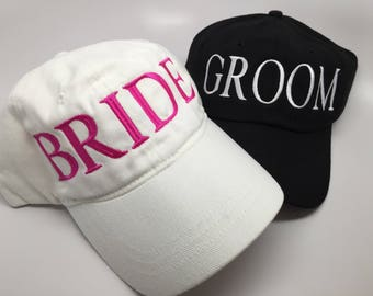 Bride and Groom Custom Embroidered Caps