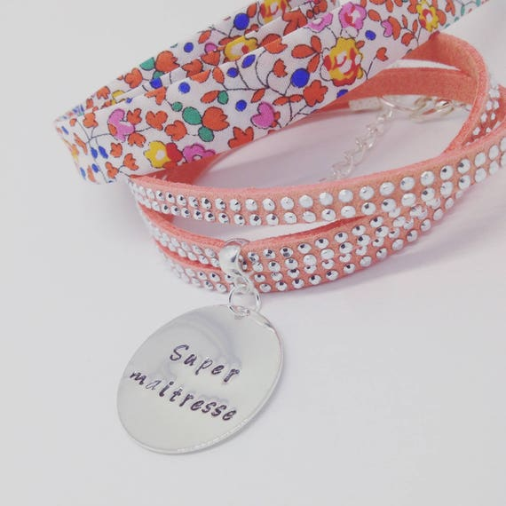 """TEACHER AIDES nanny gift * Bracelet personalized multi-turn with Medal and its customizable engraving """"Rhinestones"""""""
