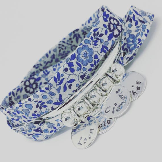 ★ Gift mother of mothers ★ Bracelet GriGri XL Liberty Blue with 4 prints to choose by Palilo