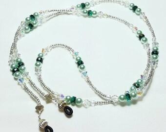 Mint Green Pearl Crystal Beaded Eyeglass Chain