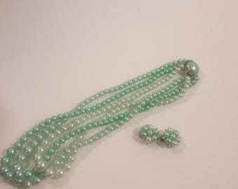 Beautiful Mint/Seafoam Green Beaded Necklace with Cluster Earrings Hong Kong