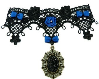 piece unique Gothic necklace lace black bow and pink satin Royal Blue