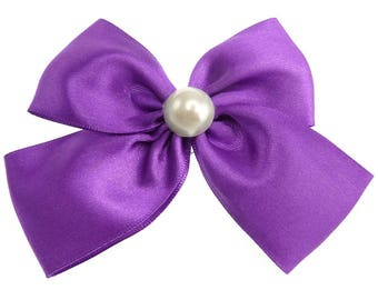 Clip hair pin-up culture imitation Pearl violet purple satin bow