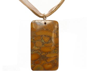 Necklace cord organza cotton Brown granite rectangle Stone Brown tiger skin