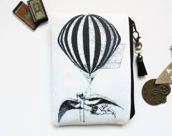 Mum gifts, Hot air Balloon Pouch, steampunk bag, dark victorian, gothic, sewing pouch, zipper wallet.