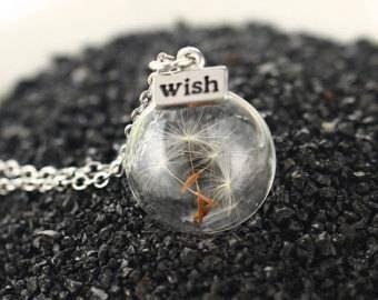 Dandelion, Wish, necklace,silver,chain,jewelry,globe,glass,flower,wishes,charm,pendant,flower,
