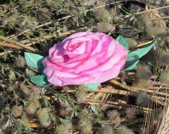 Pink rose, hair clip, flower in hair