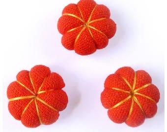 set of 3 flowers Japanese cushions 2,2 cm pumpkins orange halloween - set no. 160707008