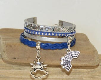 "Cuff Bracelet for girl ""Rainbow and Sun"" leather glitter, leather, suede studded - dark blue color"
