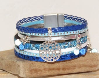 """""""Bubbles"""" color Cuff Bracelet blue turquoise, bright blue, white, silver leather, leather with glitter, suede"""