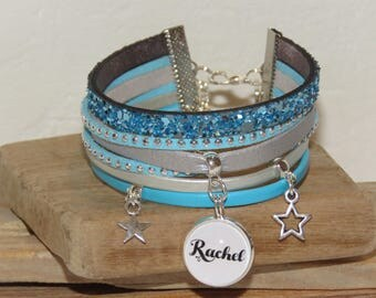 Personalized Bracelet with the name of your choice, leather, suede, silver and turquoise and star charms