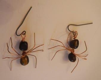 Handmade Genuine Tiger's Eye Spider Wire Earrings