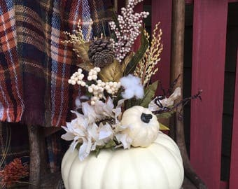 What a Beautiful White Pumpkin Flower Arrangement... with cotton stems, Flowers, Leaves and everything Shabby Shic Fall! Unique, Eye Catcher