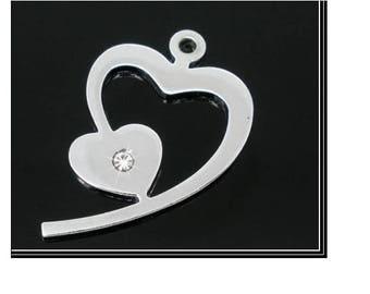 Silver heart charm and rhinestone 20 mm x 30 mm pendant