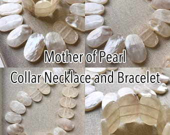 Mother Of Pearl Collar Necklace And Bracelet