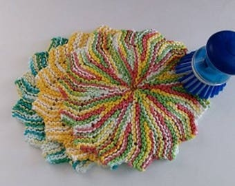 Knitted Round Cotton Dishcloth