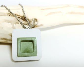 Green Concrete Necklace, Handmade - Fenestra Collection
