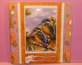 """bon anniversaire"" C.2.Carte, martins fishermen"", color orange, purple, green, gold."